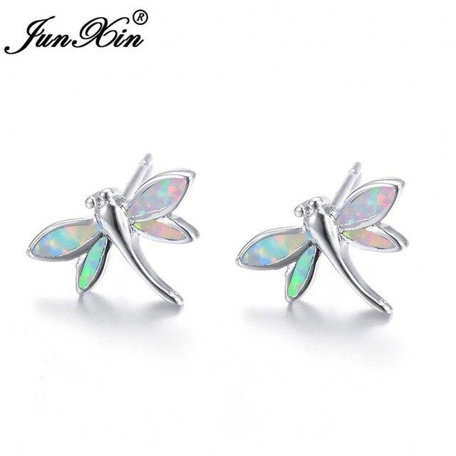 Junxin Beautiful Dragonfly Stud Earrings Charm White Fire Opal For Women Cute Animal Jewelry Valentine S