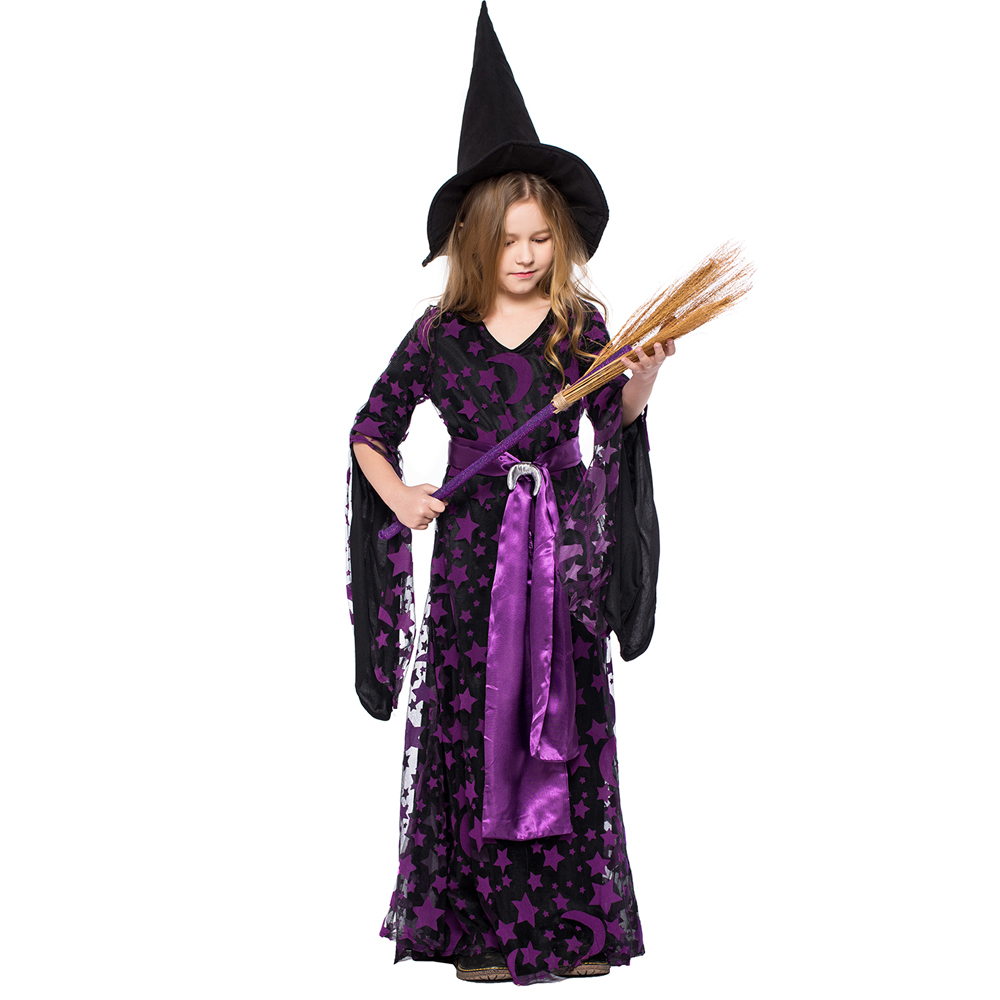children halloween printing vampire witch dresses costumes kids