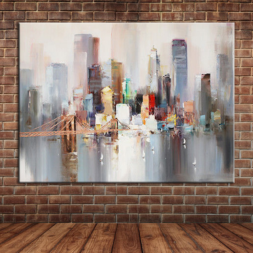 New York City Picture Canvas Painting Modern Wall Art: Modern Landscape New York Bridge Hand Painted Canvas Oil