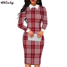 Women Red Plaid Houndstooth Printed Office Pencil Dress full Sleeve Bodycon Party Formal Stretch Work Midi Dresses Spring 2019