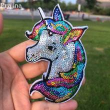 Prajna Unicorn Sequined Patches Colorful Rainbow Iron On For Clothing Applique Cartoon Style Kids Clothes Badge DIY