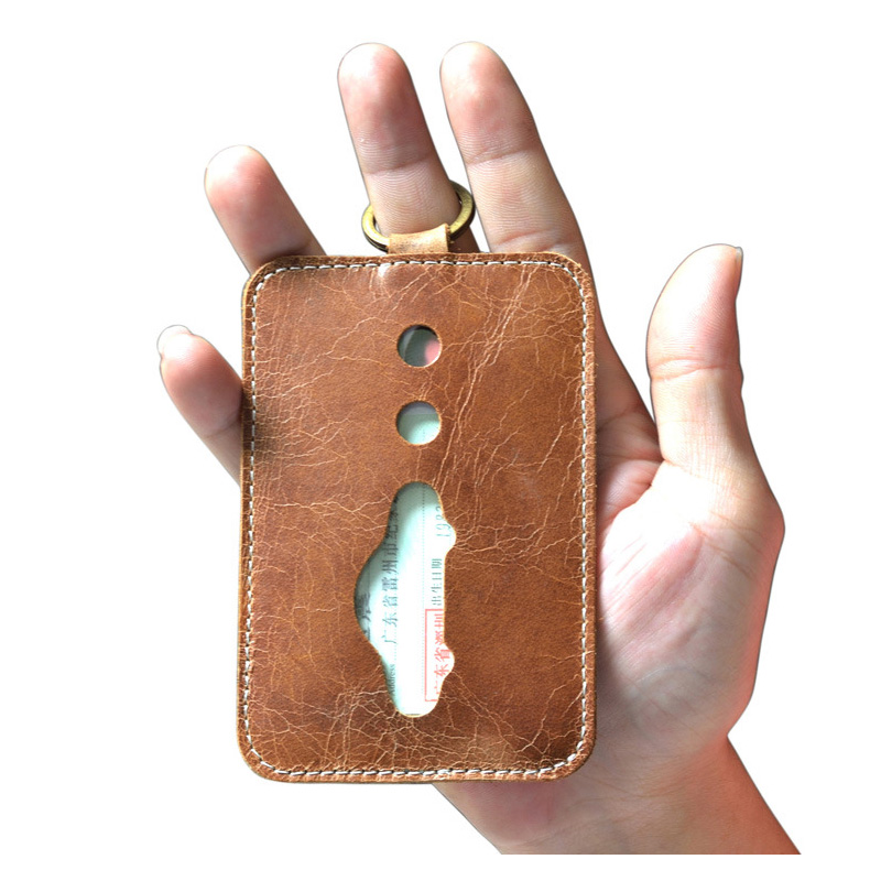 Vintage Bus Card Holder Case Men Genuine Leather Card Id Holders Ultra-thin Covers for Credit Cards Cowhide 3 bit Card Wallet ultra thin colorfulcascading pull out card holder wallet