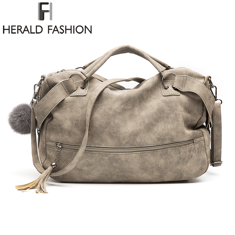 Herald Fashion  Vintage Nubuck Leather Female Top-handle Bags Rivet Larger Women Bags Hair Ball Shoulder Bag New Motorcycle BagsHerald Fashion  Vintage Nubuck Leather Female Top-handle Bags Rivet Larger Women Bags Hair Ball Shoulder Bag New Motorcycle Bags