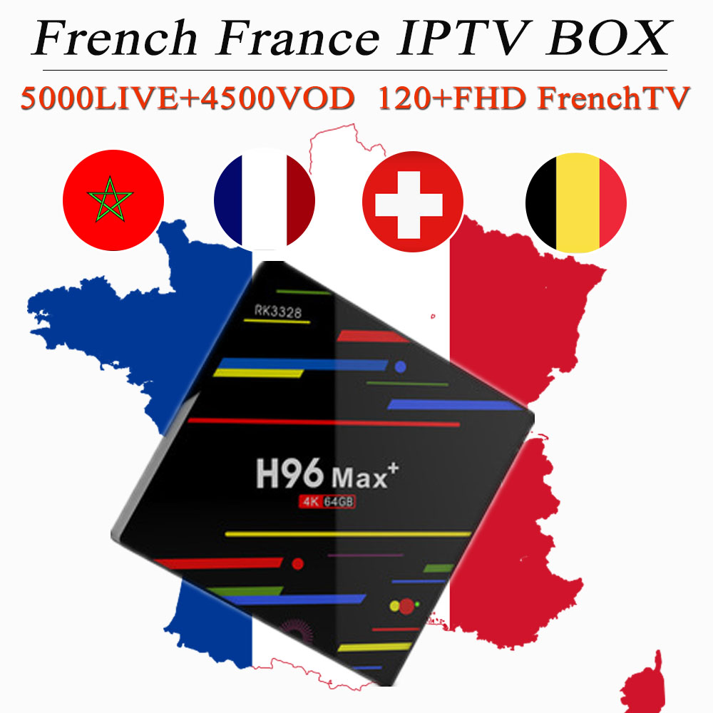 H96MAX 4G 64G android 9 0 tv box 6000Live 7500VOD French iptv subscription Ultra HD France