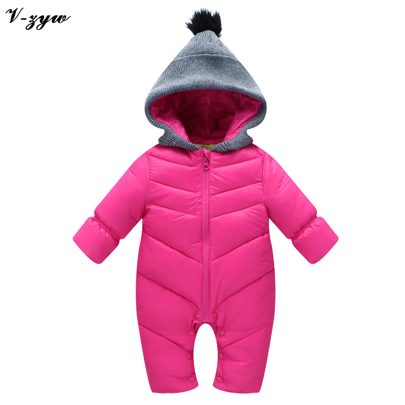 Winter Girls Boys Thick Baby Rompers Snowsuit Coat Kids ...