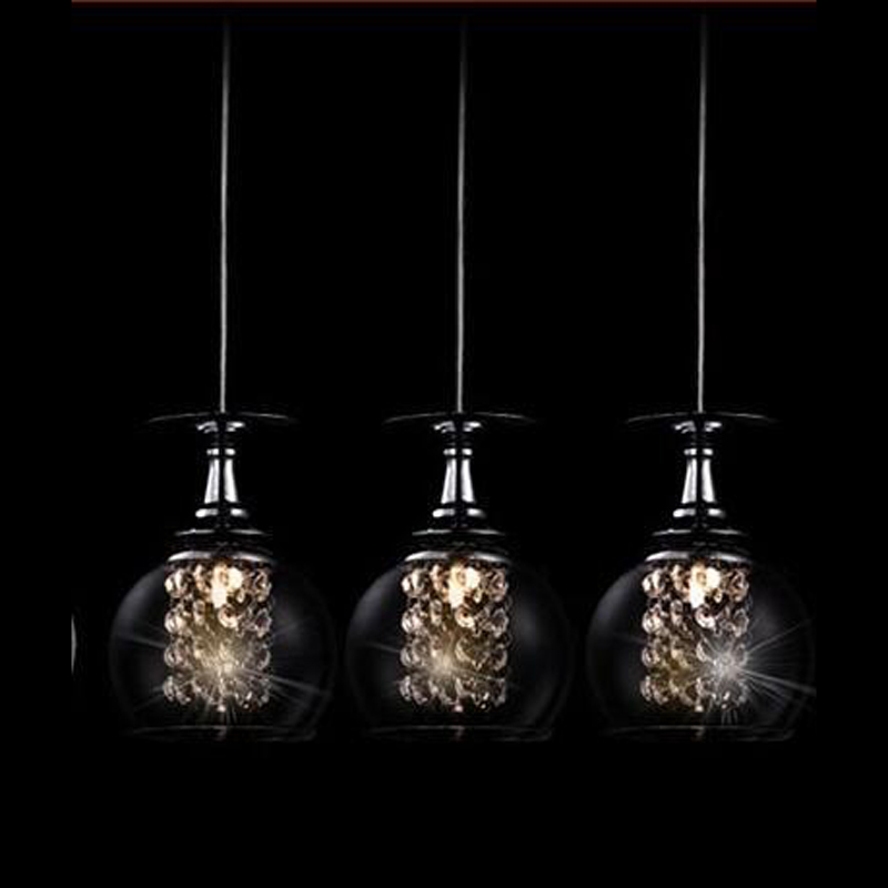 1/3 heads lamps Modern Crystal Glass Clear Wineglass Wine Glass pendant Light Lamp bedroom dining room fixture gift FG784 modern 3 6 lights crystal glass clear wineglass wine glass ceiling light lamp bedroom dining room fixture gift ems ship