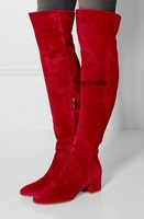 Fancy Red Suede Block Heel Long Boots Stylish Women Simply Design Round Chunky Heel Keen High