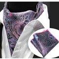 LJT0204 Laço Lenço dos homens Conjunto Rosa Roxo Paisley Floral Lenços Ascot Gravata De Seda Bolso Gravata borboleta gravata Esquadro Lenço Terno