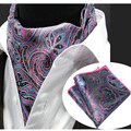 LJT0204 Men's Ascot Tie Set Purple Pink Paisley Floral Silk Cravat Scarves Ascot Necktie Pocket Square Handkerchief Suit Set
