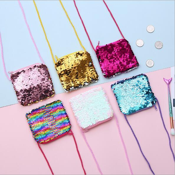 2019 new diagonal small square bag DIY children 39 s sequins small wallet shoulder slung cartoon sequins purse women in Crossbody Bags from Luggage amp Bags
