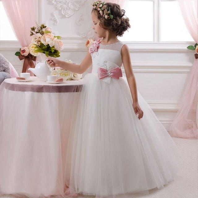 d1744a0b01 Prom Dress Dzieci Biały Kwiat Dziewczyny Sukienki na Wesele Łuk Dzieci  Suknie Balowe Suknie Wieczorowe Długi