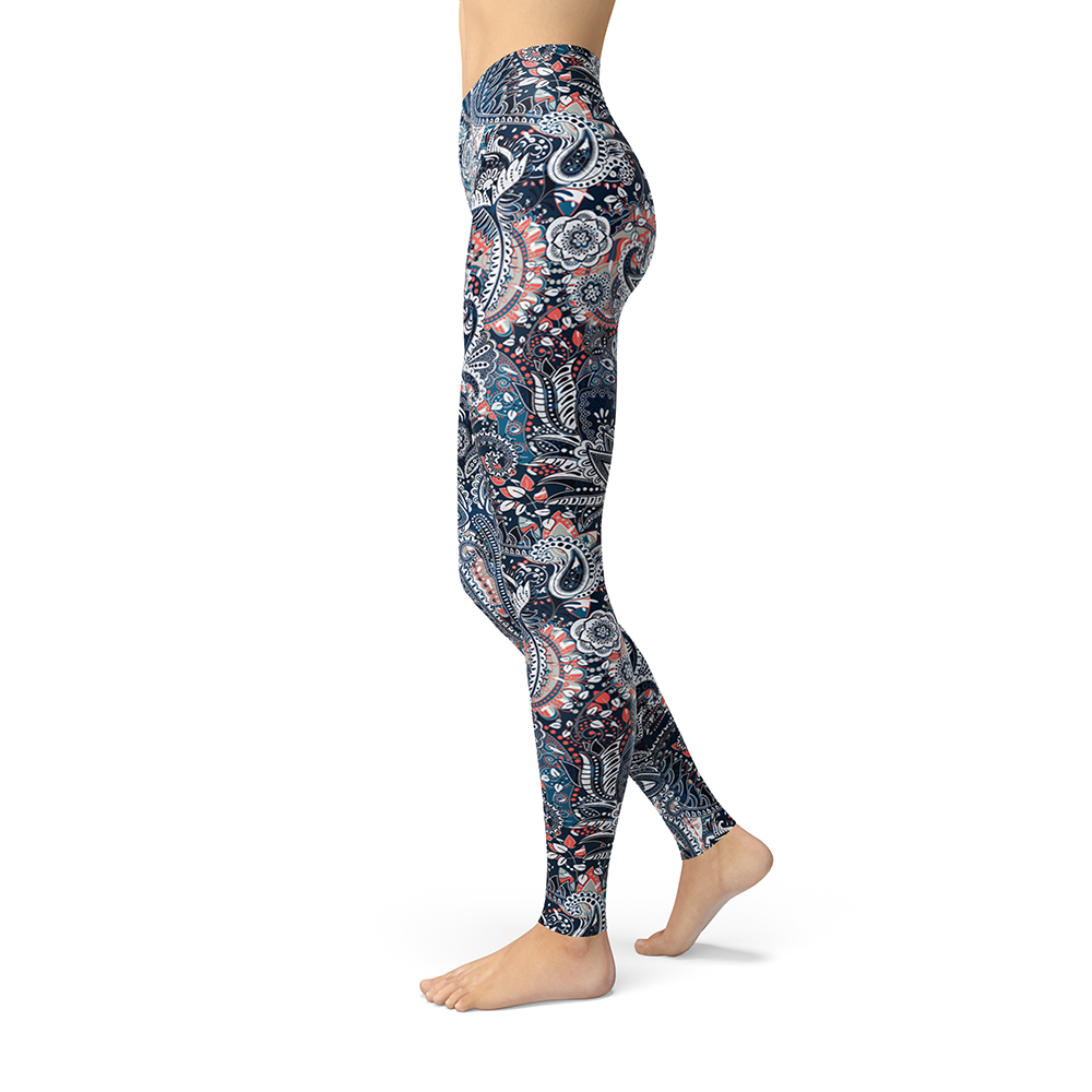 2019 New Women Vintage Floral Pattern Printed Leggings Brushed Buttery Soft Plus Size High Waist Breathable Slim Fitness Leggins in Leggings from Women 39 s Clothing