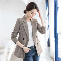 cb52fcee86 Big Size 4XL Plaid Suit Jacket Female 2019 Spring New Korean Version Of The  Selling British. Tamanho grande 4XL Xadrez Paletó Feminino ...