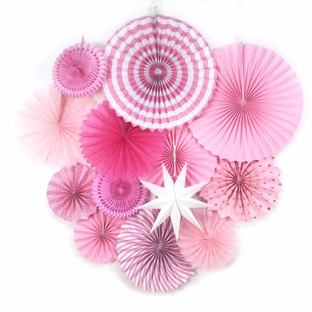 13pcs Set Pink Theme Party Supplier Paper Fan Hanging Decorations Rosettes Backdrop Birthday Bridal Showers Weddings Decor
