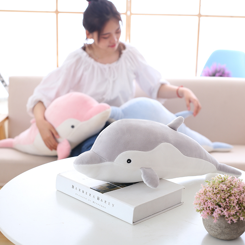 50cm Soft Dolphin Plush Toys Dolls Stuffed Down Cotton Animal Pillow Kawaii Office Nap Pillow Kids Toy Christmas Gift for Girls 1pc 16cm mini kawaii animal plush toy cute rabbit owl raccoon panda chicken dolls with foam partical kids gift wedding dolls