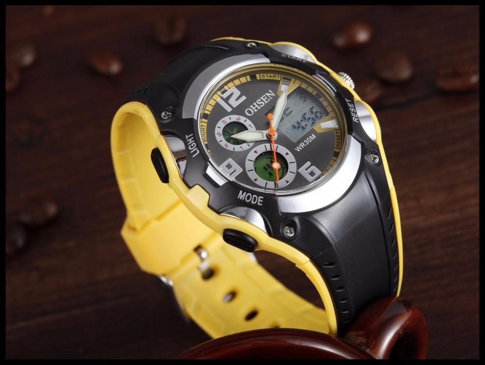 Original Ohsen Brand Fashion Sports Men's Watches 30M Waterproof Rubber Black Rubber Band Digital Sport Wristwatch for Men Gift (30)