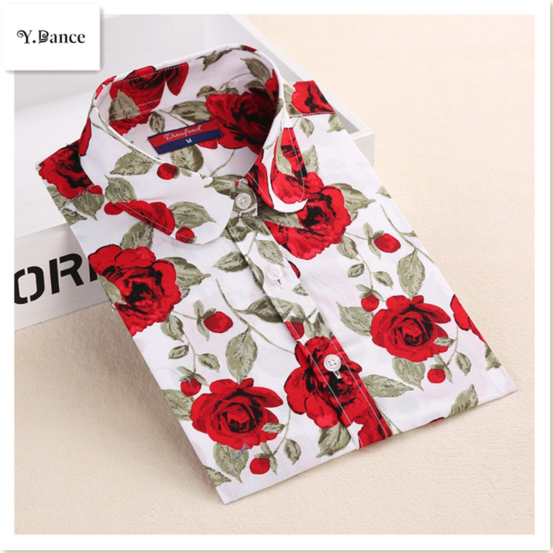 2017 New Floral Blouses Women Cotton Shirt Fashion Ladies Tops Female Blusas Plus Size Women Clothing Long Sleeve Blouse