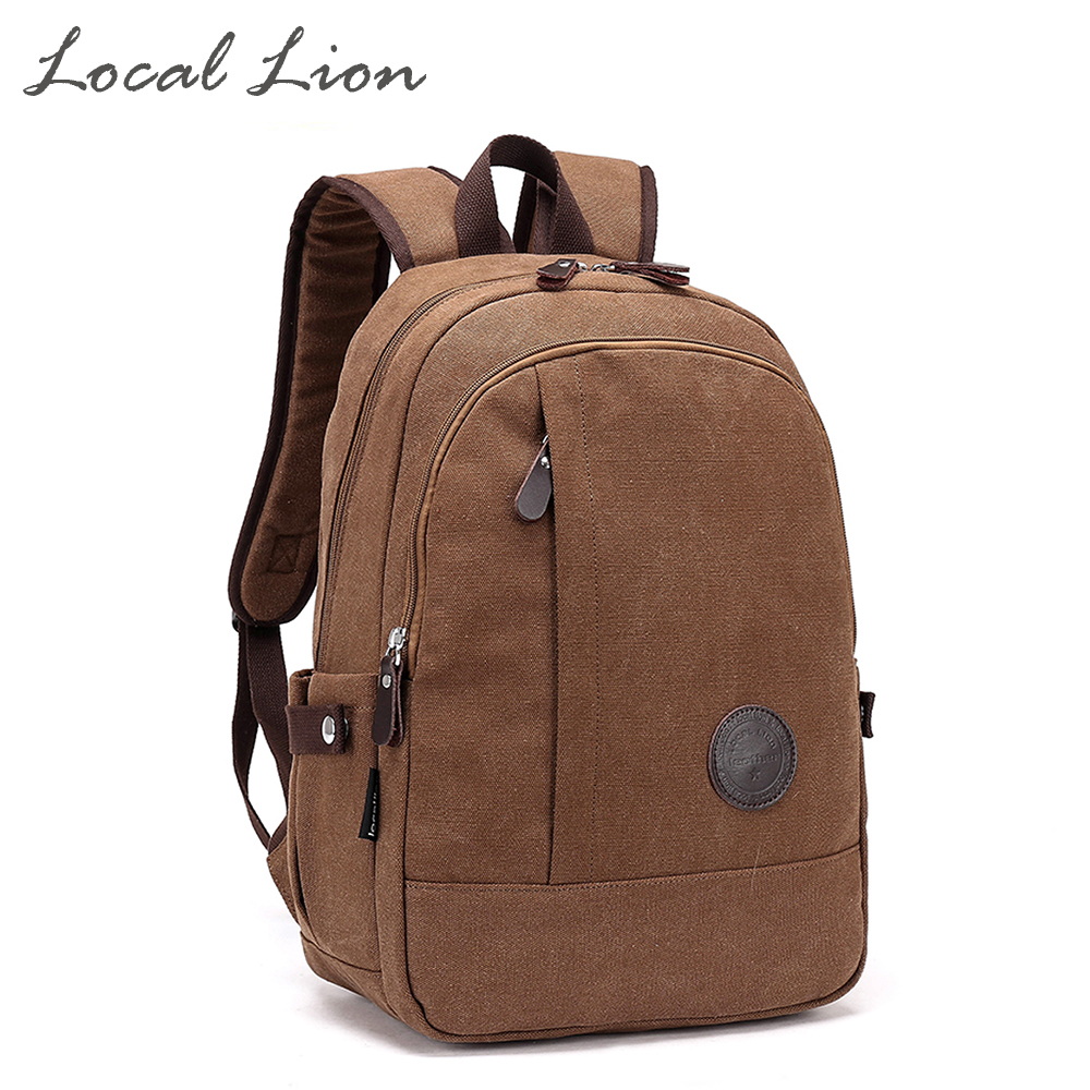 ФОТО LOCAL LION Canvas Casual Backpacks School Bag for Girl Boy Water Resistant Laptop Bag Men Women Shoulder Backpack HQB1776
