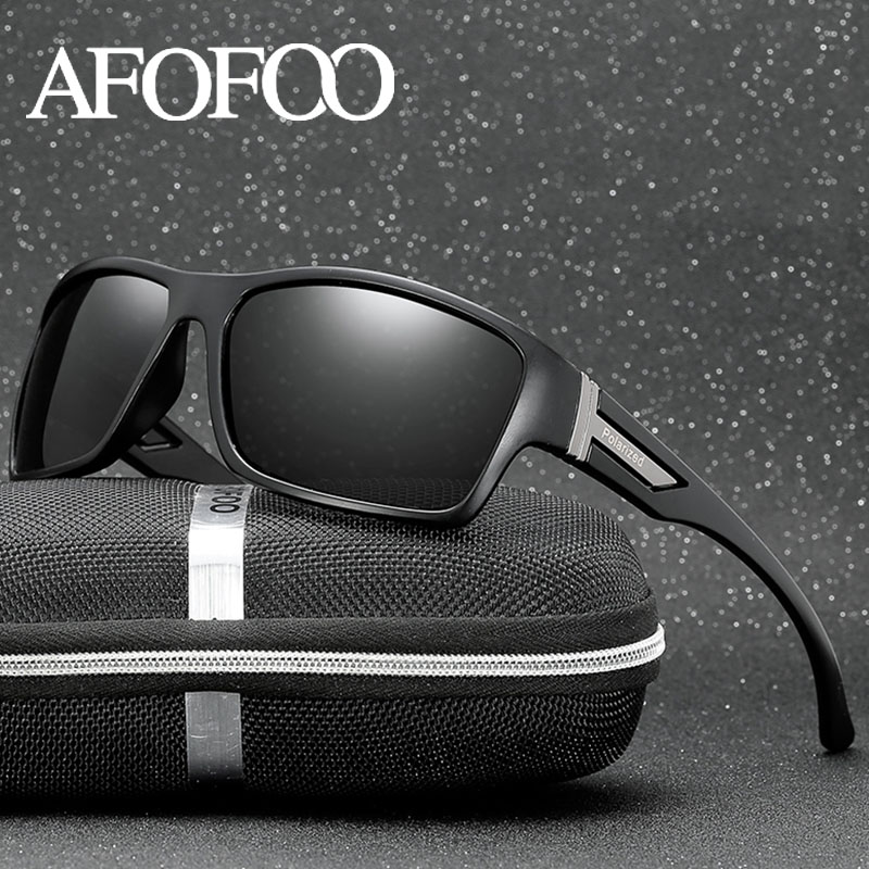 AFOFOO Classic Polarized Sunglasses Brand Designer Men Sun Glasses Travel Driving Male Square Night Vision Glasses Eyewear UV400