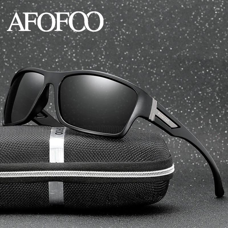 AFOFOO Classique lunettes de Soleil Polarisées Marque Designer Hommes Lunettes de Soleil Voyage Conduite Mâle Carré Nuit Vision Lunettes Lunettes UV400