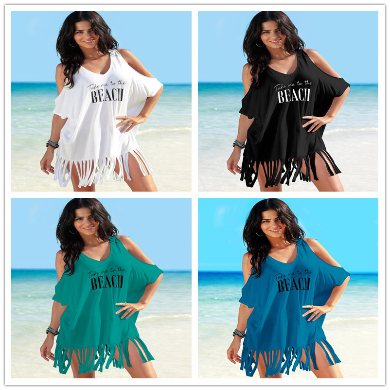 Beach Tunic And Dress Swim Suit Cover Up Pareos Woman Free Shipping Sarong Print Letters Shoulders Skirt Loose Large Size For