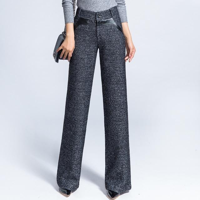 Fashion Women S Winter Trousers Las Dress Loose Woolen Pants Womens Casual Wide Woman Wool Warm