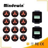 Mindewin Лидер продаж ресторан и кафе магазин беспроводной вызова системы обслуживания 1 2 шт Черная кнопка вызова + 2 шт сенсорные часы пейджер