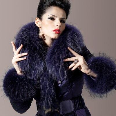 Fur Collar 2016 Winter Jacket Women down jackets Womens Down Coat Royalcat slim lace down coats Purple down Outwear hooded