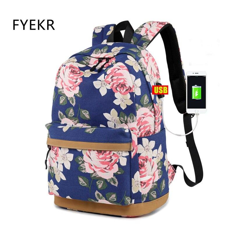 Décontracté USB charge sac à dos sac d'école mode toile sac à dos femmes Floral impression sac à dos école sac à dos pour les adolescentes