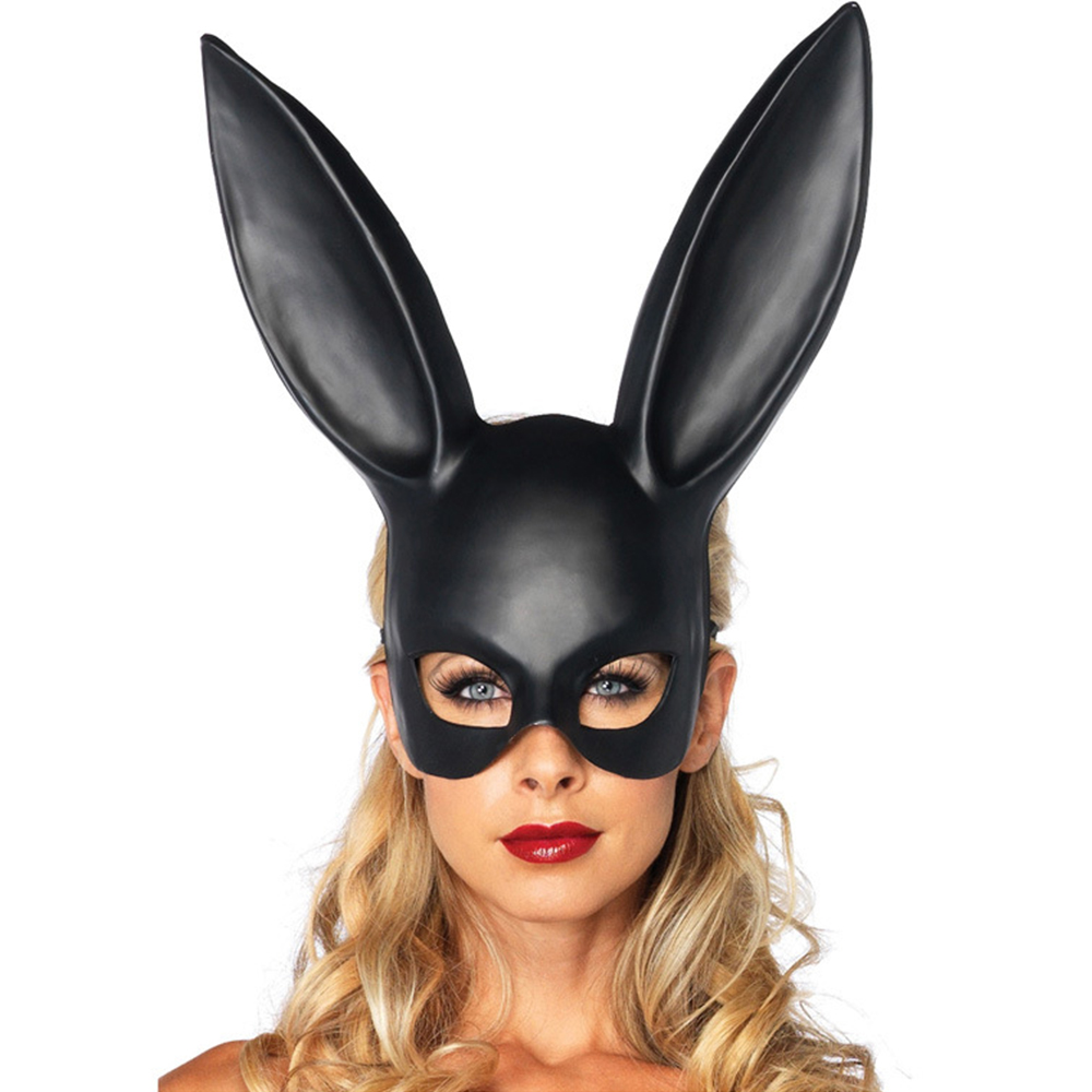 Hot Women Girl <font><b>Sexy</b></font> Rabbit Ears Mask <font><b>Cute</b></font> Bunny Long Ears Bondage Mask Halloween Masquerade Party <font><b>Cosplay</b></font> Costume Props Headband image