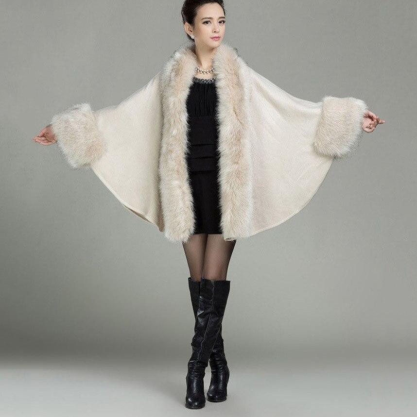 Hiver Chaud coton grande taille châle écharpe en laine 2018 Européenne  felame Américain tricoté long grande enveloppe avec col de fourrure  garniture capes fd3abac8d4b