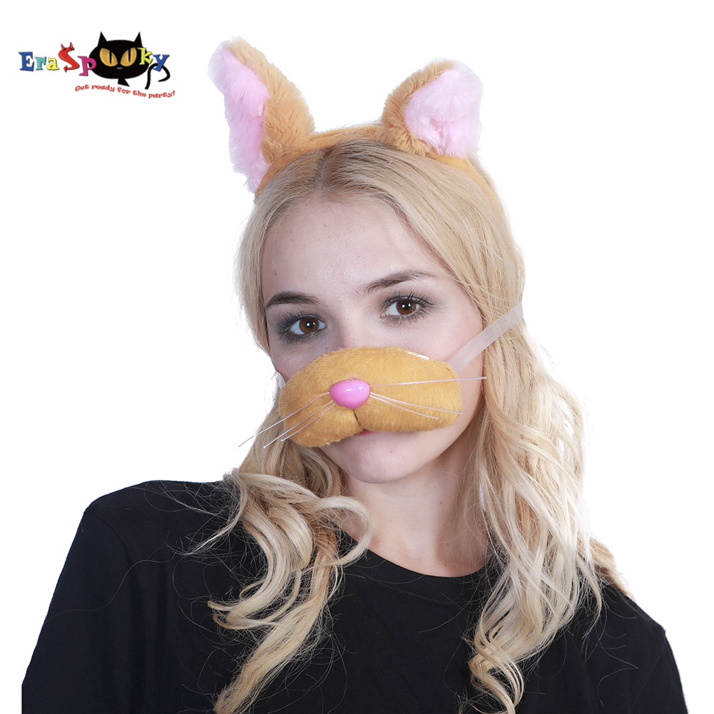 Eraspooky Halloween Costume for women Halloween costume accessories animal cosplay Cute Cat Cosplay Headband Ear And Nose Set