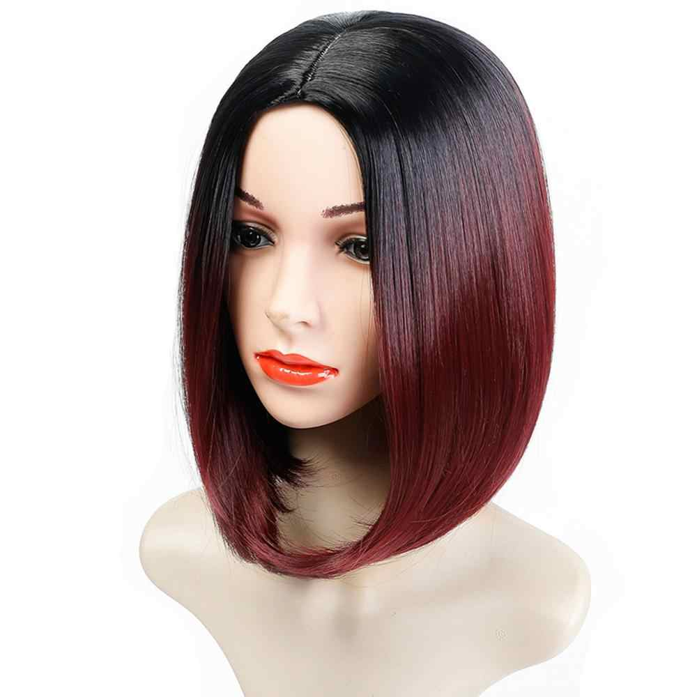 Difei Short Red Ombre Bob Middle Part Wig Shoulder Length Heat Resistant Synthetic Party Cosplay Women S Hair Wigs Dark Roots Synthetic None Lace Wigs Aliexpress