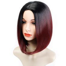 DIFEI Short Red Ombre Bob Middle Part Wig Shoulder Length He