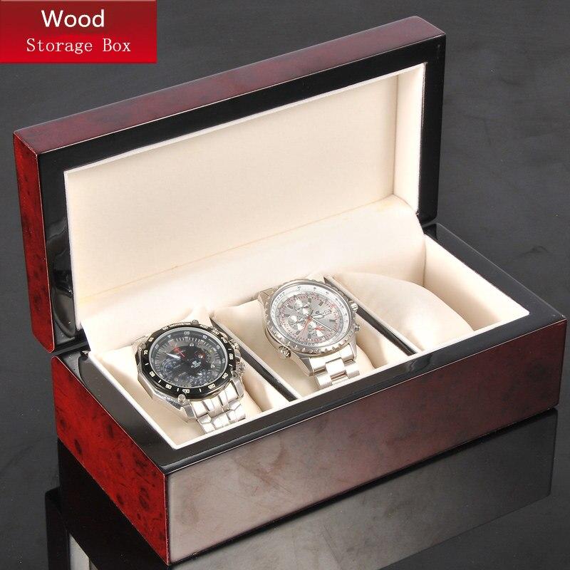 3 fentes bois montre boîte de rangement rouge mécanique hommes montre boîte nouveau femmes bijoux boîte en bois montre paquet cadeau affichage boîte W041