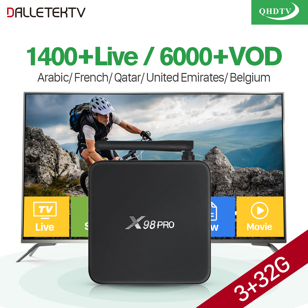 IPTV Arabic X98 PRO Smart TV Box 3GB 32GB Android 6.0 Amlogic S912 Octa Core Dual Wifi QHDTV Subscription Arabic French IPTV Box smart 4k x98 pro tv box android 6 0 2g 16g amlogic s912 subtv iptv subscription 8000 vod iptv europe french arabic iptv box