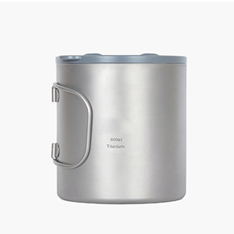 ФОТО Keith 600ml Folding Handle Double-wall Titanium Mug With Lid Bacteriostatic Non-toxic Drinkware Copos Caneca KS816
