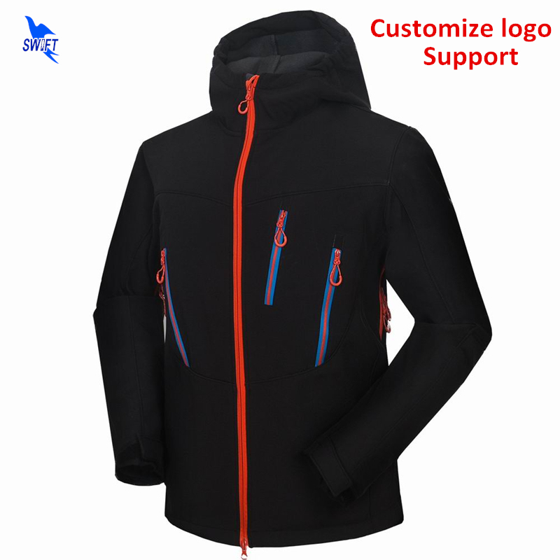 цена на Custom Mountain Climbing Hiking Clothing Thermal Tech Fleece Softshell Jacket Men Hooded Waterproof Windstopper Fishing Clothes