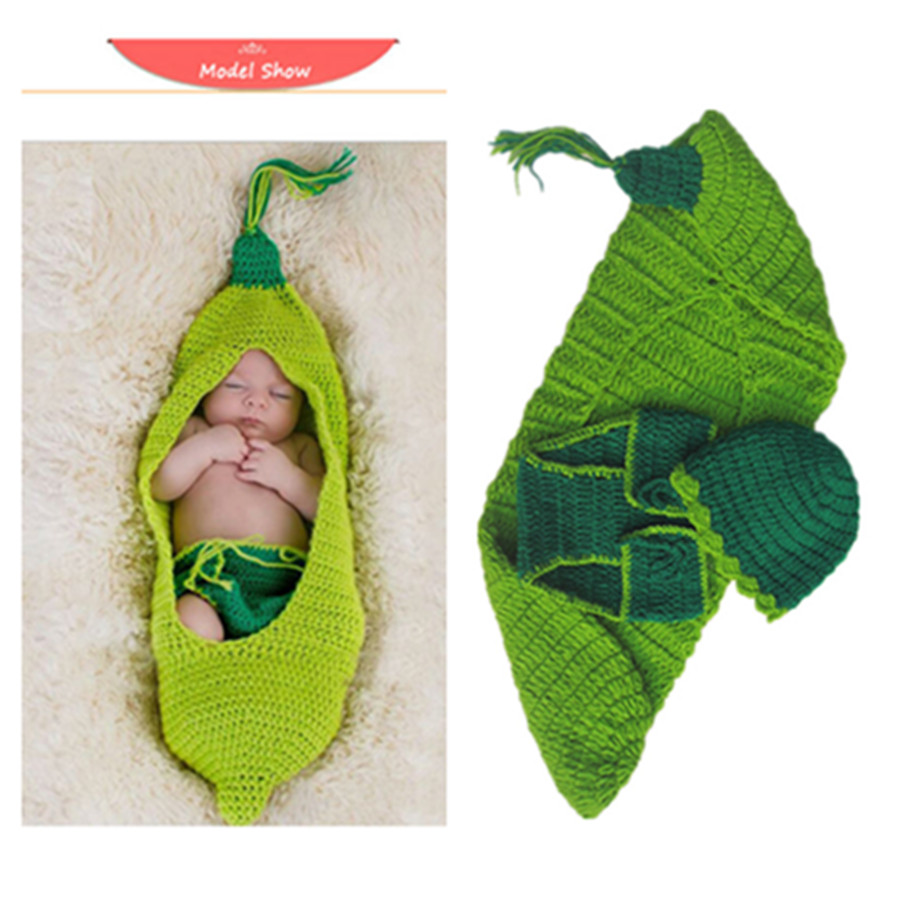 Handmade Crochet Baby Baby Peas Sleeping Bags With No Eaves Beanie Cap Collocation Shorts Manual Cocoon Fashion Photography Proh