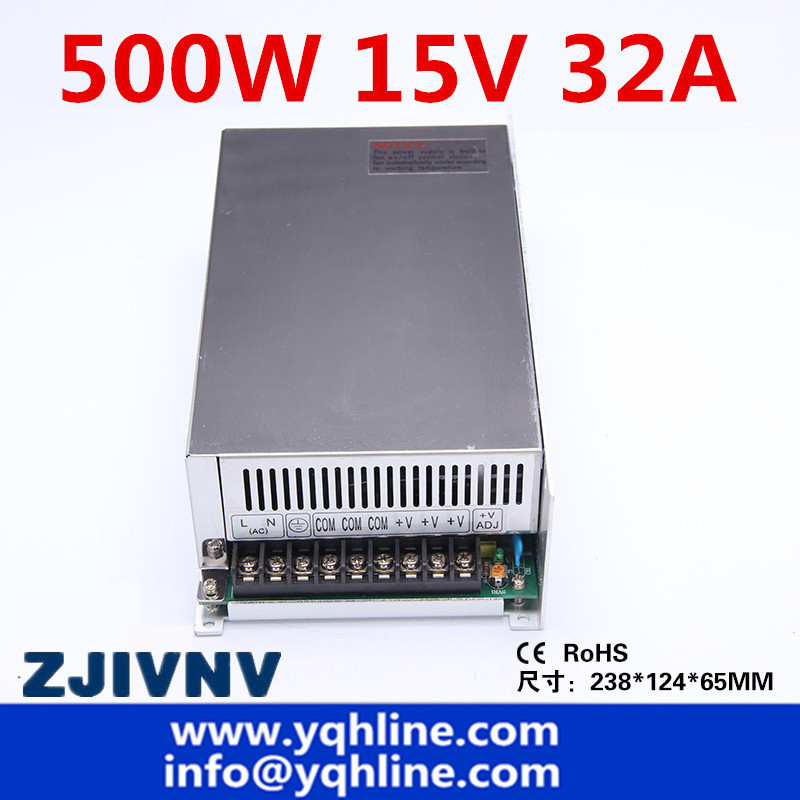 цена на 500w 15v 32a programmable switching power supply ac-dc single output SMPS suit LED ight CCTV Camera and industrial (s-500-15)