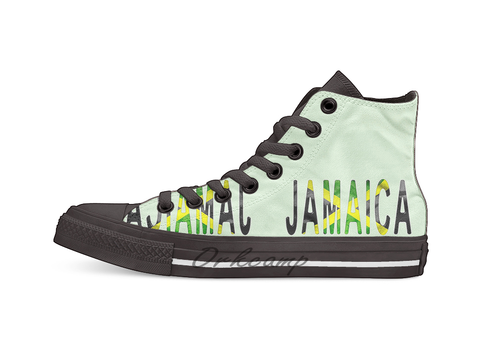 Jamaica Word With Flag Texture Novelty Design Casual Canvas Shoes Custom shoes Drop Shipping