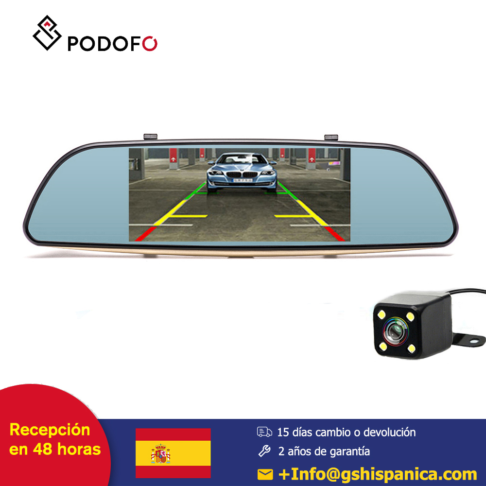 Podofo 7 ''Android 5.0 camara coche DVR double lentille caméra enregistreur vidéo rétroviseur GPS Navigation