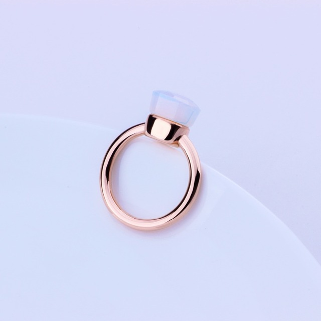 MetJakt Classic Natural Gemstone Moonstone Rings Solid 925 Sterling Silver 14k Rose Gold Color for Women's Fine Jewelry