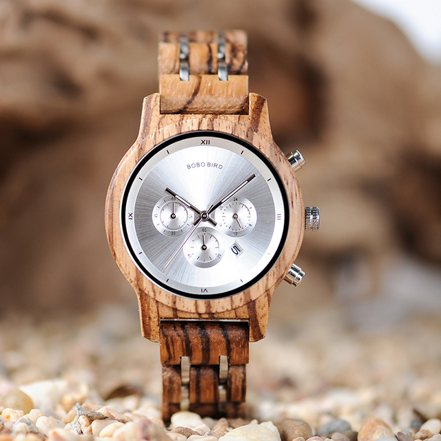 BOBO BIRD Wood Women Watches Luxury Timepieces Functional Stop WristWatch Date D