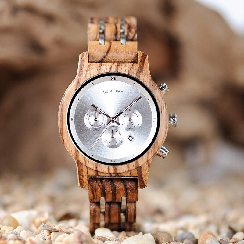 BOBO VOGEL Holz Frauen Uhren Luxus Uhren Funktionale Stopp Armbanduhr Datum Display Holz Geschenke Box C-P18N reloj mujer