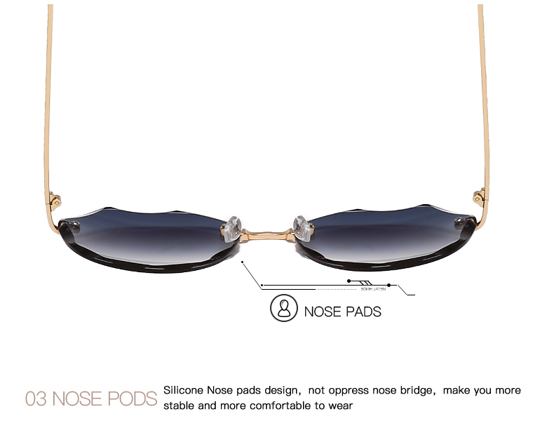 HTB1KJTKKIfpK1RjSZFOq6y6nFXaC AEVOGUE Sunglasses For Women ladies Rimless Diamond cutting Lens Brand Designer Ocean Shades Vintage Sun Glasses AE0637