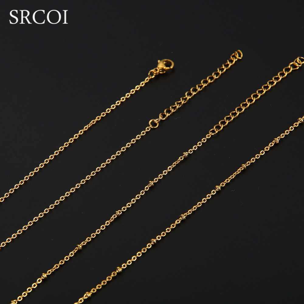 SRCOI אישית אמא בת שרשרת צבע זהב סט תכשיטי נירוסטה שרשרת לב לגזור כמתנת חג מולד ראש שנה