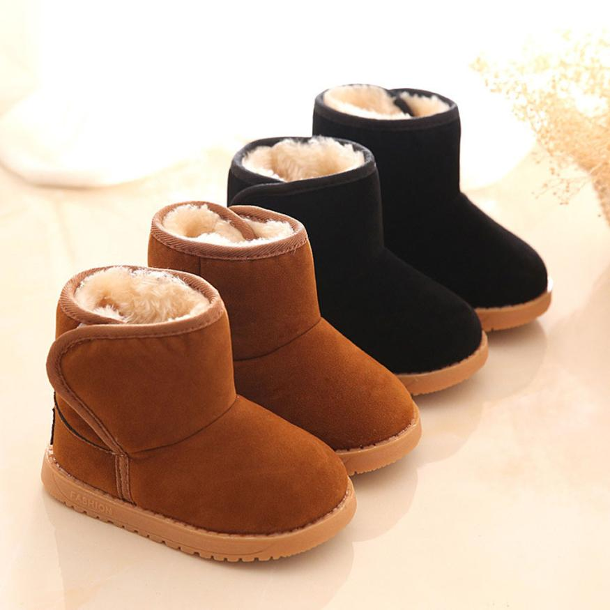 24e9961cad Best buy 2017 Winter Baby Child Style Cotton Black BrownBoot Warm Snow Boots  Dichotomanthes Flats Winter Shoes botas #520JY online cheap