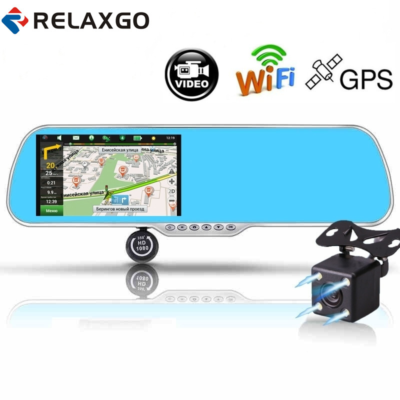 Relaxgo 5 Android Touch Car DVR GPS Navigation Rearview Mirror Car Camera Dual Lens Wifi Dash Cam Full HD 1080P Video Recorder junsun wifi car dvr camera video recorder registrator novatek 96655 imx 322 full hd 1080p dash cam for volkswagen golf 7 2015