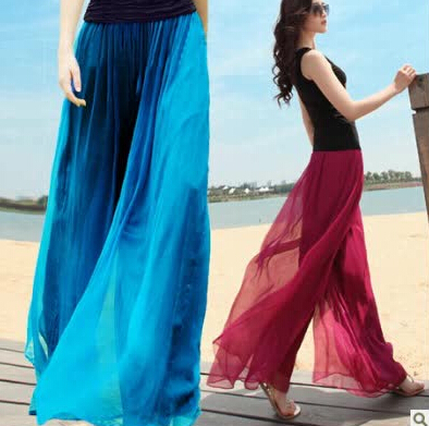 ae06085fe2 Spring and summer womens beach pants loose plus size high waist culottes  gold chiffon skorts wide